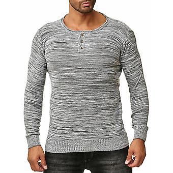 Mens chandail Long Sweat Shirt manches longues tricoté Pullover Sweatshirt tacheté