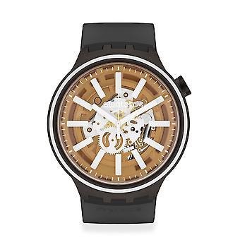 Swatch So27b114 Big Bold Light Taste White & Black Silicone Watch