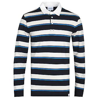Norse Projects Ruben long Sleeve Blue Stripe Polo Shirt