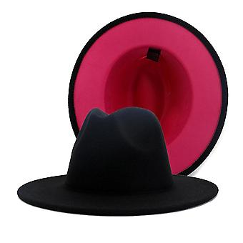 Unisex Panama Wool Felt Fedora Hats, Wide Brim Party Trilby Cowboy Hat