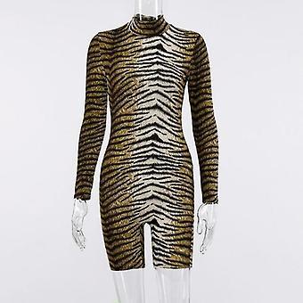 Mulheres De pescoço alto leopardo sexy impresso ropmer curto