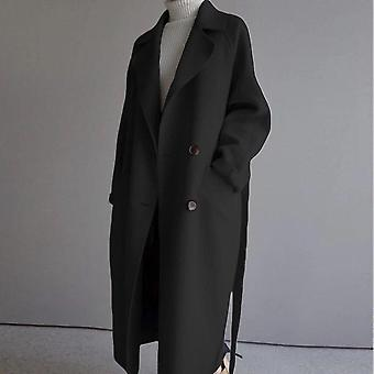 Winter Beige Elegant Wool Blend Women Korean Fashion Black Long Coats
