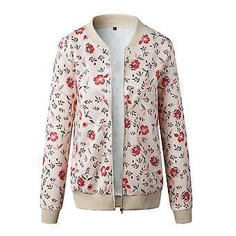 Long Sleeve Vintage Floral Coat Casual O Neck Zipper Bomber Jackets