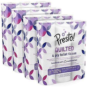 Amazon Brand - Presto! 4-Ply Quilted Toilet Tissues, 48 Rolls (4x 12 x 160 sheets): Pattern B