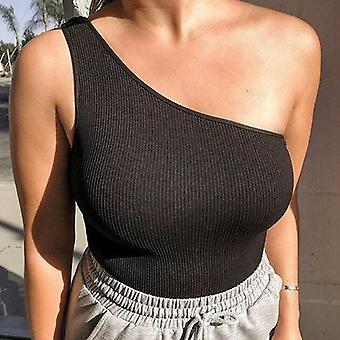 Ribbed White Bodysuit Women Sexy One Shoulder Bodycon Tops