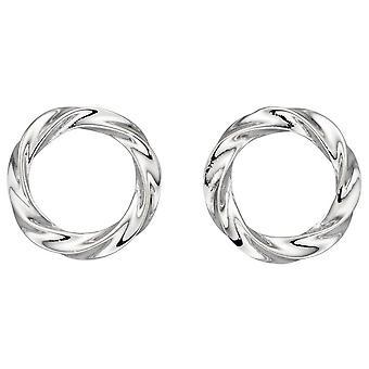 Elementos Prata Orgânico Círculo Twist Brincos - Prata