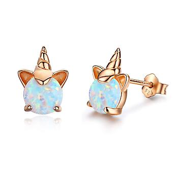Sterling Silver Genuine Or Created Round Cut Unicorn Birthstone Stud Earrings