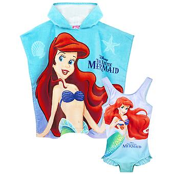 Disney The Little Mermaid Girl's Cover Up & One size Hooded Towel Poncho | Enfants Ariel, Sebastian & Flounder Towelling Robe | Cadeau Disney pour les enfants