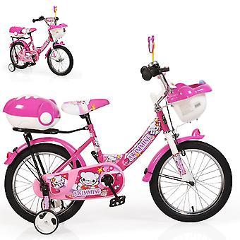 Byox barn cykel 16 tum 1682 rosa, stödhjul, 2 korgar, klocka, justerbar