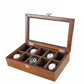 10 paikkaa puinen kattoikkuna kello laatikko korut näyttö kokoelma säilytyslaatikko