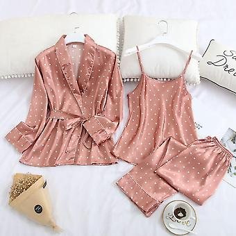 Spodná bielizeň Dot Satin Pyžamá sady s dlhým rukávom jesenné nohavice Sexy nočné prádlo (rovnaké