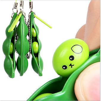 Fidget Toy Set, Squeeze-a-bean Sojabönor Stress Lindra Lekfull Charms Extrusion Edamame Pea