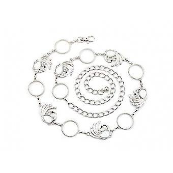 44 Zoll Silber Diamante Metall Taille Kette Gürtel - Kreis und Pfau Design