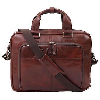 Ashwood Lederen Double Handle Laptop Bag - Bruin