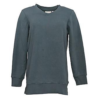 Denim & Co. Women's Petite V-Neck Tunic Gray A389487