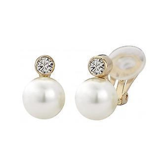 Pendientes de clip de viajero con perla blanca de 10 mm chapado en oro de 22ct - 113881 - 397