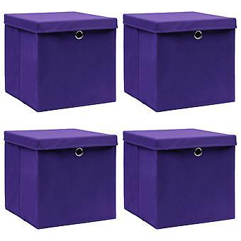 vidaXL Aufbewahrungsboxen mit Deckel 4 Stk. Lila 32×32×32 cm Stoff