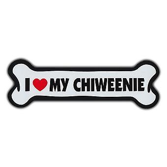 """المغناطيس ، العملاقة حجم الكلب العظام ، وأنا أحب بلدي Chiweenie ، 10 """"X 3"""""""