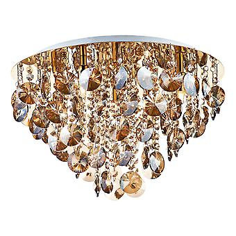 Crystal Flush Ceiling Light Gold complet avec Amber Droppers, 5x G9
