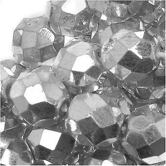 Czech Fire Polished Glass Beads 8mm Round Silver Metallic (25)