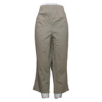 Denim & Co. Pantaloni donna Più crop vita originale W/ Pcts Beige A14925