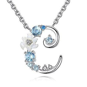 Gemshadow initial Sterling 925 silver necklace with zircon letter personalized gifts for girls and 925, cod. AQEN000060
