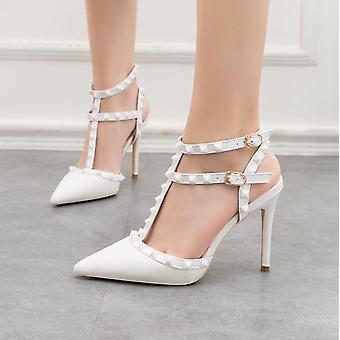 Römische Mode Heels Patent-Leder Metallic Niete Sandalen - weiß 9268-28