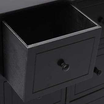 vidaXL-kaappi 6 laatikkoa Musta 60x30x75cm Paulownia Wood