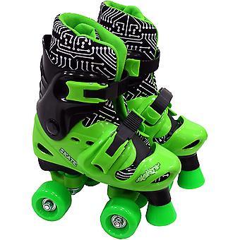 Medium Elektra Justerbar Quad Boot Roller Skates (Grön & Svart)