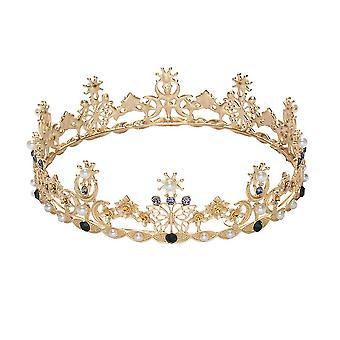 וינטג קריסטל כלה טיארה בראון חתונה המלכה קראון ריינסטון סרט שיער חתונה