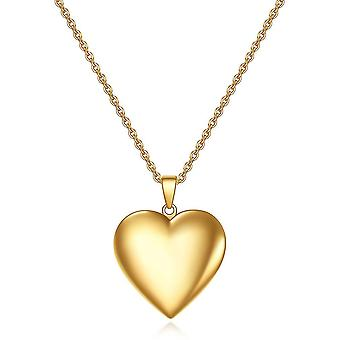 Women Necklace  Open Heart Golden Stainless Titanium Steel Pendant For Party