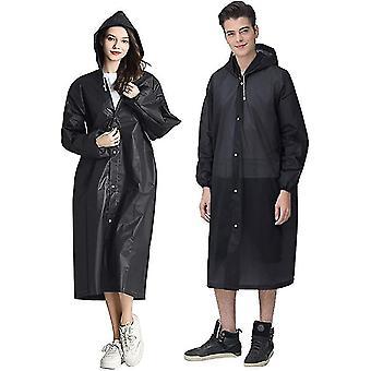Bärbara Eva Rain Coats återanvändbara regnponcho med huva och elastiska manschettärmar (svart)