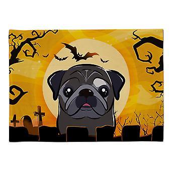 Caroline's Treasures BB1821PLMT Halloween Schwarzer Mops Stoff Tischset, Multicolor