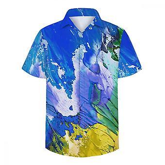 ユンユン メン&アポス ヴォーグ ブルー オイル ペイント 3D 半袖シャツ