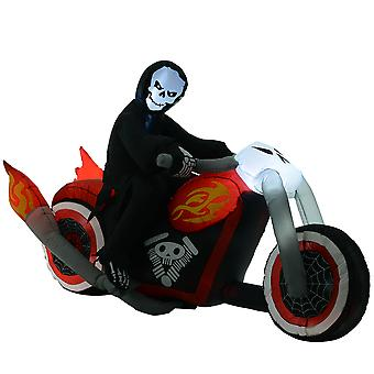 HOMCOM 1.8m Giant Inflatable Grim Reaper Motorcycle Halloween Decoration Ghost Flaming with LED Outdoor Air Blown Holiday Décor