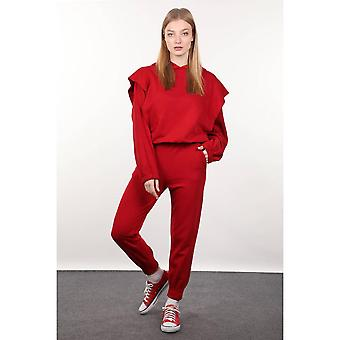 Red Waisted Hoodie Women's Tracksuit Set