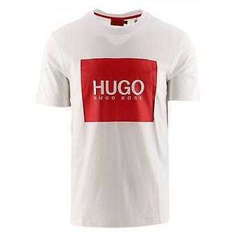 HUGO Valkoinen Logo Box Print Dolive 214 T-paita