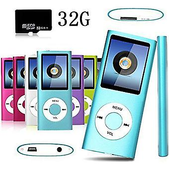 """Mp3 / Mp4 Player 32gb Micro Sd Card Player Player 1.8 """"lcd Screen Video Radio Music Games Fm + Earphones - Blue"""