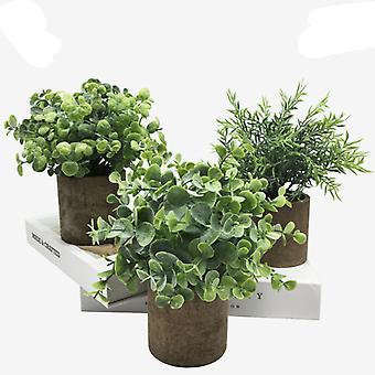 Kunstplanten 3-delige set, kunstmatige groene planten, kunstmatige bloemdecoratie, potplanten, home bonsai raamdecoratie