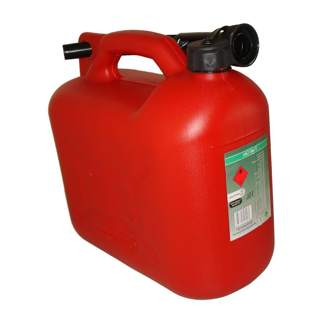 10L Litre Red Fuel Canister Plastic Lawn Mower Jerry Can Flexible Spout