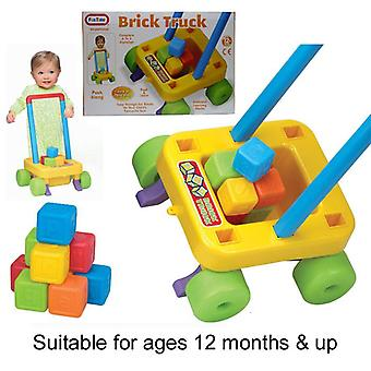 Push Along Brick Truck with Alphabet Learning Blocks Kids Toy