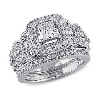 1.25 Carat (ctw Color H-I Clarity I2-I3) Princess Cut Diamond Engagement Ring & Wedding Band Bridal Set in 14K Whit