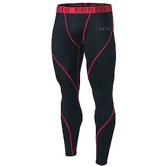 TSLA Tesla MUP19 Cool Dry Contour-Stitching Compression Pants  - Black/Red