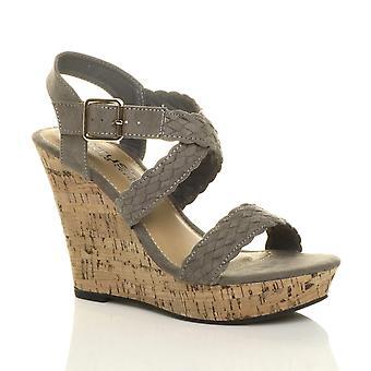 Ajvani naisten suuri kiila kantapää solki platform strappy espadrille sandaalit sze
