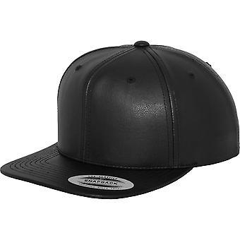 Flexfit by Yupoong Mens Full Leather Imitation PU Snapback Cap