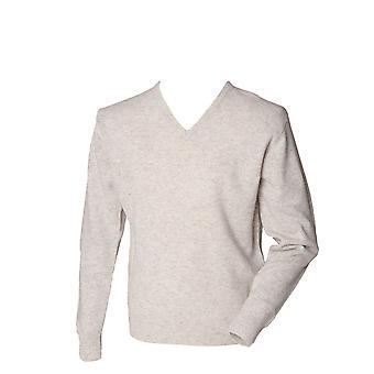 Manga de lana larga de Henbury Mens punto puente de cuello V