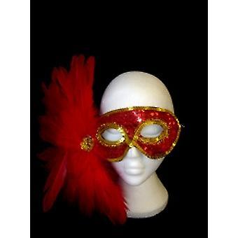 Rot und Gold Pailletten Augenmaske mit roten Federn. (1)