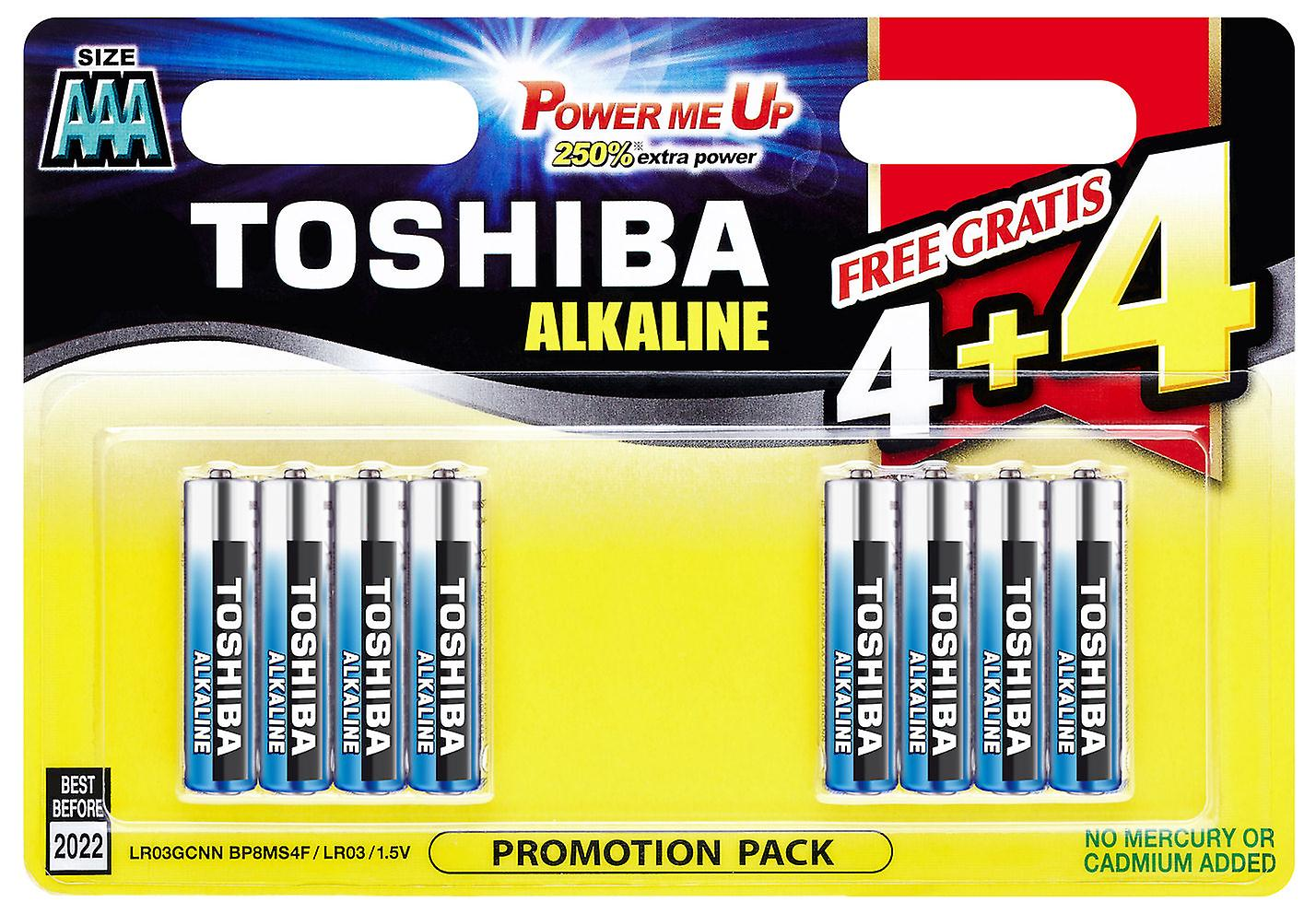 8 x TOSHIBA Extra Power AAA Micro, LR03 Alkaline Batteries 1,5V, 8er-Pack