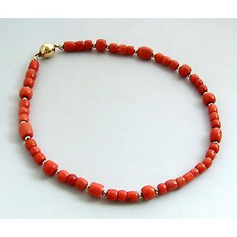 Red coral necklace with gold balls