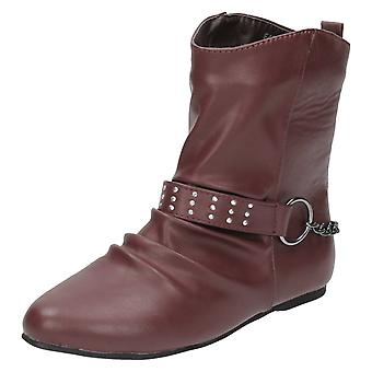 Ladies Spot On Flat Ankle Boots